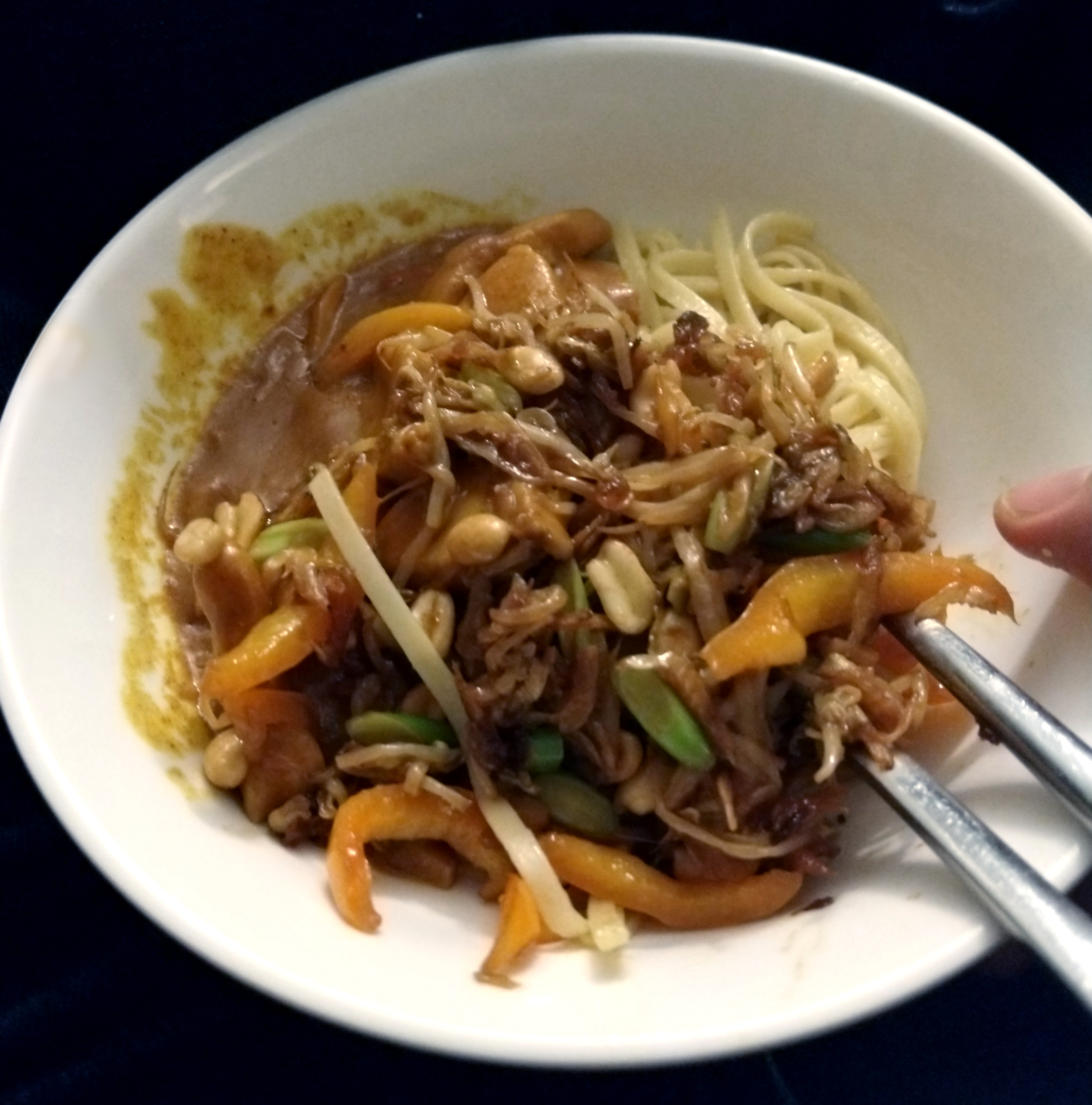 Action shot!  My bowl of noodles, showing the fried veggies and satay chicken