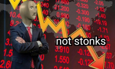 'Not stonks' meme, sad man, stocks go down