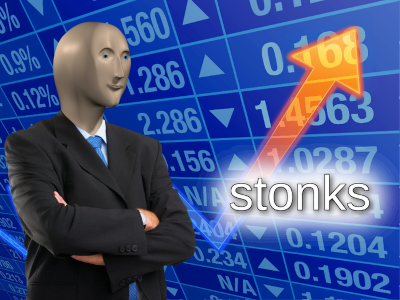 'Stonks' meme, happy man, stocks go up