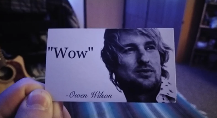 A photo of someone holding a business card.  The business card simply reads 'Wow', in quotation marks, with a picture of Owen Wilson.  It is very droll.